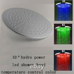 10 Round Temperature Sensor Changing Color LED Showerhead, Polished Chrome