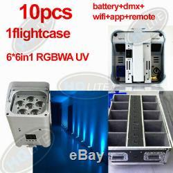 10pcs smart dj par battery dmx wireless wifi uplighting 6 led6in1 15w RGBWAUV