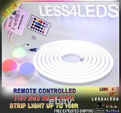 110V 120V Neon Rope LED Strip Light 32ft RGB+W Waterproofed Outdoor WIFI Ready
