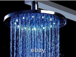 12 Round Temperature Sensor Changing Color LED Showerhead, Polished Chrome