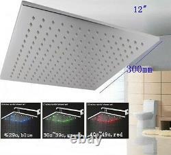 12 Square Showerhead LED Temperature Sensor Changing Color, Polished Chrome