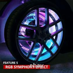 15.54 LED Wheel Ring Lights IP68 Change RGB+Chasing Color Bluetooth APP control