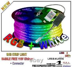 164ft 50m 110V 120V RGB +W Multi Color LED Strip Holiday Lights w controller