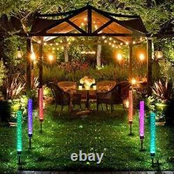 2-Pack Garden Solar Lights Outdoor Solar Acrylic Bubble RGB Color Changing Decor