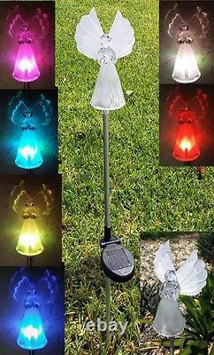 2-Pc Outdoor Solar Angel with Fiber Optic Wings Color change LED Stick Light