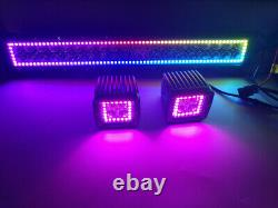 22 120W Offroad Led Light Bar + 2x 3 Fog Lamp with RGB Halo Ring Color Change