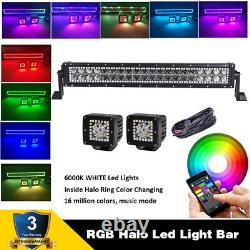 22 LED Light Bar & 2x 3 Cube Pods RGB Halo Ring Chasing For JEEP SUV TRUCK 4X4