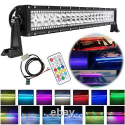 22 inch 120W Led Work Light Bar Off road Driving Remote RGB Halo Color Changing