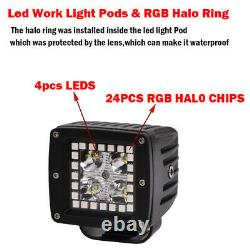 22 inch LED Light Bar + Spot 3X3 Pods with RGB Angel Eyes Halo Ring DRL Chasing