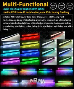 22 inch Led Light Bar Combo with RGB Halo Color Changing Chasing & Control Wiring