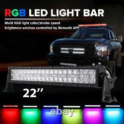 24inch 280W RGB Led Light Bar Multi Color 16Colors Bluetooth Change Disco 22 20
