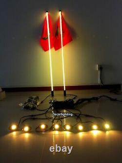 2PCS 3FT Flexible RGB Color Changing LED Whip Lights + 8PCS RGB Rock Lights Kit