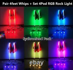 2PCS 4FT RGB Color Changing LED Whip Lights + 4PCS RGB Rock Lights Sync Kit