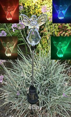 2X Solar Powered Angel with Star Landscape Garden Stake Color Changing LED Light