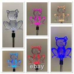 2X Solar Powered Cat Landscape Garden Stake Color Changing LED Light