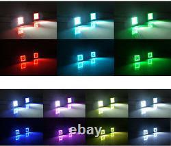 2x 3 Led Work Light Bar Spot Beam Pods RGB Halo Color Change Kit For ATV Trucks