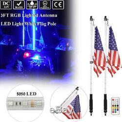 2x 3ft RGB LED Color Change Whip Light Antenna with Flag Off-Road For ATV RZR UTV