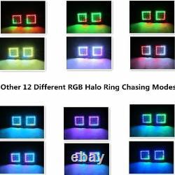 2x 5 24W Flush Mount Pods Led Work Light Bar RGB Halo Color Change Chasing Kit