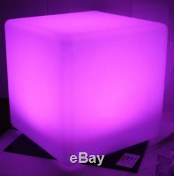 2x Illuminated LED Light Cube Cocktail Table Chair Color-Changing Lighting Stool