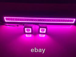 32 LED Light Bar + 2x 3 Cube Pods 6000K White with RGB Halo Color Change Remote