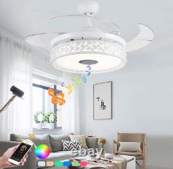 36/42 Bluetooth Invisible Ceiling Fan Light LED 7-Color Music Player Chandelier