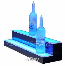 36 LED BOTTLE BAR RACK SHELF, Two Steps, Color Changing Lights, Glass Display