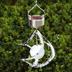 3D Solar Powered Colour Changing Wind Spinner Hanging Spiral LED Garden Light