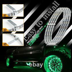 4 LED Wheel Ring Lights 15.5IP68 Change RGB+Chasing Color Bluetooth APP control