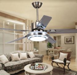 42/52 Ceiling Fan Light with 3-Color Change LED 5 Stainless Steel Blades Remote