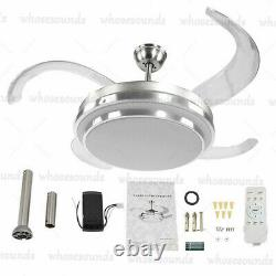 42'' Ceiling Fan with 3 Colors LED Light Retractable Blade and Remote Control US