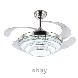 42 Crystal Ceiling Fan with Retractable Blades 3 Color Change LED Fan Light