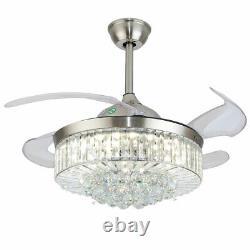 42 Crystal Chandelier Ceiling Fan LED Light Fandelier + Remote 3 Colors change