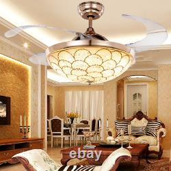 42 Invisible Ceiling Fan Light Remote Crystal LED 3-Color Change Chandelier