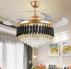42 Invisible LED 3-Color Change Ceiling Fan Light Luxury Crystal Chandelier