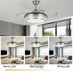 42'' Invisible LED 3-Color Change Ceiling Fan Light Remote Control Chandelier