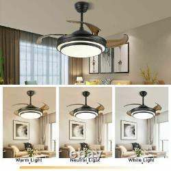 42 Invisible Remote Control Ceiling Fan Light LED 3-Color Change Chandelier110V