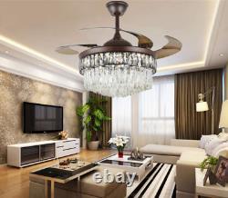 42 LED 3-Color Change Ceiling Fan Light Retractable Blades Crystal Chandelier
