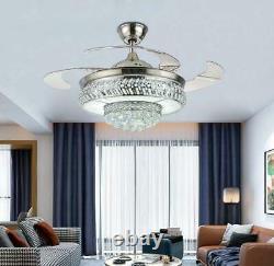 42 Modern LED Chandelier Crystal Ceiling Fan with Light Remote 3 Color Change