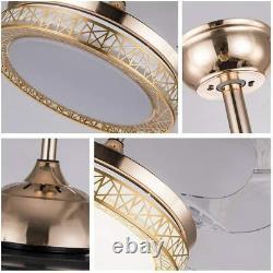 42 Remote Control LED Ceiling Fan Light 3Color Change Retractable Blades
