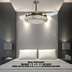 42 Retractable 65W LED Ceiling Fan Dimmable Lights 4 Blades Remote Control