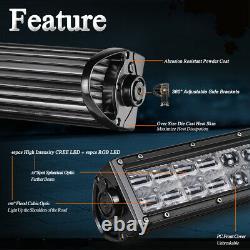 42inch RGB LED Straight Offroad Light Bar Bluetooth + RGB LED Rock Lights 4-Pods