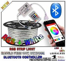 49ft 110V 120V RGB +W LED Light Flexible Holiday LED Strip Light with Bluetooth