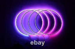 4X 15.5 IP68 RGB Color Changing Bluetooth LED Wheel Lighting Rings Lights