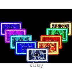 4X6 RGB SMD LED Color Change Halo Crystal Headlight H4 Light Bulb Headlamp Pair