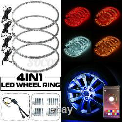 4x 14 LED Wheel Ring Lights IP68 Changing RGB+Chasing Color Bluetooth Control