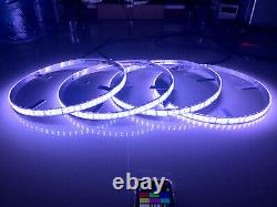 4x 15.5'' Double Row LED Wheel Ring Lights RGB Color Change IP68 Bluetooth Ctrl