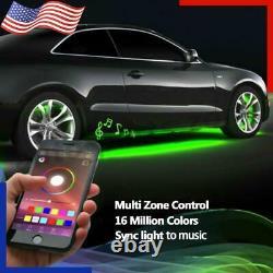 4x 15.5 IP68 Adjustable RGB Color Changing Bluetooth LED Car Wheel Rings Lights