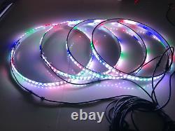 4x 15.5 IP68 RGB Color Changing Bluetooth LED Wheel Rings Lights Rim Follow