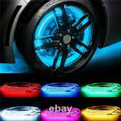 4x 15.5 IP68 RGB Color Changing Bluetooth illuminated LED Wheel Rings Lights