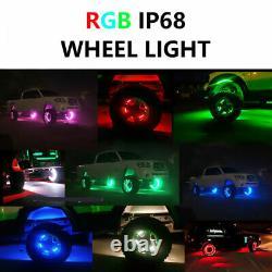 4x 15.5 IP68 RGB Color Changing Shifting Bluetooth LED Wheel Rings Rims Lights